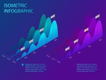 Isometric set of infographics with data financial graphs or diagrams, information data statistic and design elements. Flat isometric infographic for your Stock Images