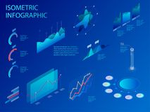 Isometric set of infographics with data financial graphs or diagrams, information data statistic and design elements. Flat isometric infographic for your Royalty Free Stock Photos