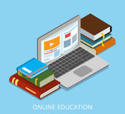 Flat isometric laptop with book on screen vector i. Llustration. 3d isometry online education course and knowledge concept stock illustration