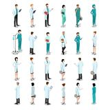 Flat isometric male female doctors nurse medic hea. Flat isometric male and female doctors healthcare  illustration people characters icon set. Health care Stock Photography