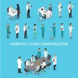 Flat isometric male female doctors nurse medic hea. Flat isometric male and female doctors healthcare  illustration people characters icon set. Health care Stock Photo
