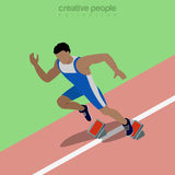 Flat isometric male runner vector illustration Royalty Free Stock Images