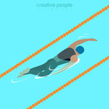 Flat isometric male swimmer vector illustration. Flat isometric male swimmer on lane swimming crawl style vector illustration. Sportsman 3d isometry image Royalty Free Stock Images