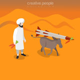 Flat isometric man carrot donkey missile vector 3d. Flat isometric Arabic man holding carrot, donkey following bait tied to missile on desert background vector Stock Image