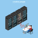 Flat isometric Man computer connected server. Flat isometric System Administrator, Server Admin, IT guy, Programmer or code developer working on computer Royalty Free Stock Photos