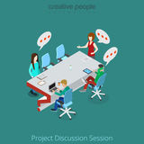 Flat isometric man discuss project vector brainsto vector illustration