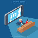Flat isometric man mobile video cinema smartphone. Flat isometric man viewing video on big smartphone screen vector illustration. 3d isometry mobile video Royalty Free Stock Photo