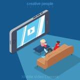 Flat isometric man mobile video cinema smartphone Royalty Free Stock Photo