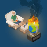 Flat isometric man watch burn globe vector Global. Flat isometric man sitting at home in armchair and watching for burning world globe vector illustration Stock Image