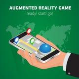 Flat isometric mobile game catch illustration Stock Image