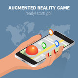 Flat isometric mobile game catch illustration. Human hand hold smartphone. Virtual MMOG game 3d isometry concept. Flat isometric mobile game catch illustration Stock Photo