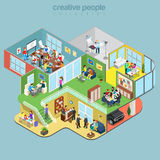 Flat isometric office interior department staff. Flat isometric Creative Workshop office floors interior, company departments with staff vector illustration. 3d Royalty Free Stock Photo