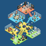 Flat isometric office interior department staff ve. Flat isometric office center floors interior, company departments with staff  illustration. 3d isometry Stock Images