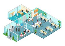 Flat 3d business isometric office interior vector. Flat isometric office interior vector illustration. 3d isometry business concept. Working business people Royalty Free Stock Photography