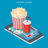 Flat isometric online booking Cinema ticket. Flat isometric Cinema tickets, pop corn and coda on smartphone vector illustration. 3d isometry online mobile vector illustration