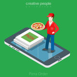 Flat isometric online order Pizza boy smartphone  Royalty Free Stock Photos