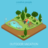 Flat isometric outdoor vacation cycling couple bench forest park. Flat 3d isometric outdoor vacation web infographics concept. Cycling couple relax on bench by Stock Photo