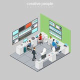 Flat isometric people department refinery  3. Flat isometric Businesspeople working in Technology and Development department of refinery station  illustration Stock Photography
