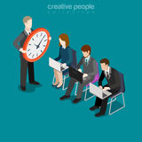 Flat isometric people hurry leader clock vector 3d. Flat isometric businesspeople work in a hurry, leader with big clock vector illustration. 3d isometry rush Stock Photos