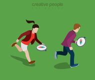 Flat isometric people run compass direction vector Stock Photo