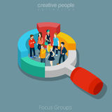 Flat isometric People vector illustration social f. Flat isometric people group inside magnifier diagram vector illustration. Marketing social focus group 3d Stock Image