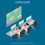 Flat isometric Policemen watch monitor vector  Royalty Free Stock Images