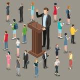 Flat isometric politician business speech . Flat isometric politician or business microphone speech  illustration. 3d isometry businessman speaker on Stock Images