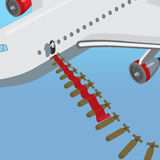 Flat isometric Politician plane air attack stock illustration