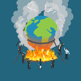 Flat isometric Politics burn globe fire vector Glo. Flat isometric politician and businessman burning world globe in camp fire vector illustration. Global Royalty Free Stock Image
