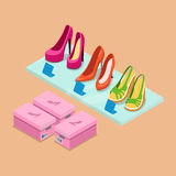 Flat isometric shoes boutique shelf store business. Flat isometric shoes boutique showcase shelf vector illustration. 3d isometry retail footwear store business royalty free stock photos