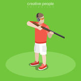 Flat isometric shooter with weapon vector  Stock Images