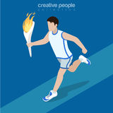 Flat isometric sportsman run hold torch flame. Flat isometric sportsman running, holding torch with flame vector illustration. Sports 3d isometry concept Royalty Free Stock Photos