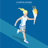 Flat isometric sportswoman run hold torch flame. Flat isometric sportswoman running, holding torch with flame vector illustration. Sports 3d isometry concept Royalty Free Stock Photo
