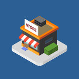 Flat isometric store logo,  vector icon Royalty Free Stock Image