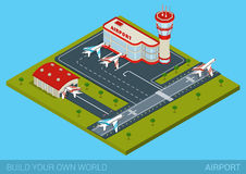 Flat isometric style airport building, hangar, runway, airplanes