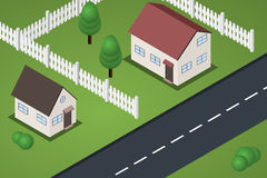 Flat isometric suburb houses with lawns. And fences near road Stock Photo