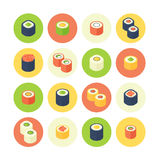 Flat isometric sushi icons set Royalty Free Stock Photo