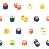 Flat isometric sushi seamless pattern Stock Photography