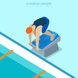 Flat isometric swimmer pedestal vector illustration Royalty Free Stock Photo