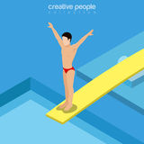 Flat isometric  swimmer on trampoline vector Sport Stock Image