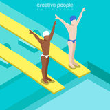 Flat isometric swimmers on trampoline vector  Stock Images