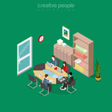 Flat isometric team office meeting room vector. 3d. Flat isometric team collaboration in office meeting room interior vector illustration. 3d isometry business Stock Photos