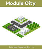Flat isometric urban. Flat 3d isometric urban city infographic concept. Township center map with buildings, shops and roads on the plane Royalty Free Stock Photo