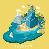 Flat isometric vector beach hotel infographics travel vacation. Flat 3d isometric creative beach hotel web infographics travel vacation concept. Luxury class Royalty Free Stock Photo