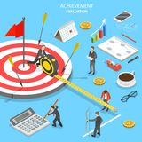 Achievement evaluation flat isometric vector. Flat isometric vector concept of achievement evaluation, company performance, business target Royalty Free Stock Images
