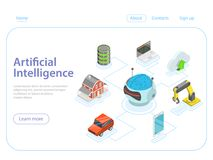 Artificial intelligence flat isometric vector concept. Stock Photo