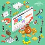 Digital marketing budget flat isometric vector. Flat isometric vector concept of digital marketing budget calculation, seo, ppc, roi Stock Images