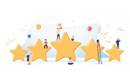 Flat isometric vector concept of five stars, best rating, customer feedback, positive review. Winner award First place. Competition stars. Success reward vector stock illustration