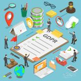 GDPR flat isometric vector concept. Royalty Free Stock Photo