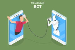 Messenger bot and ai flat isometric vector concept. Flat isometric vector concept of messenger bot, ai, artificial intelligence, customer support, markting vector illustration